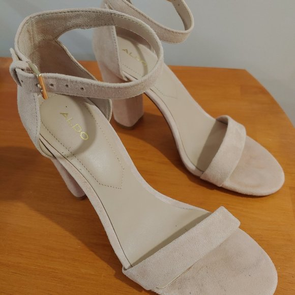 Ralph Lauren Womens Peep Toe High Heel Chunky Heels Shoes